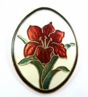 Vintage Red Iris Cloisonne Enamel Flower Brooch By Fish And Crown.